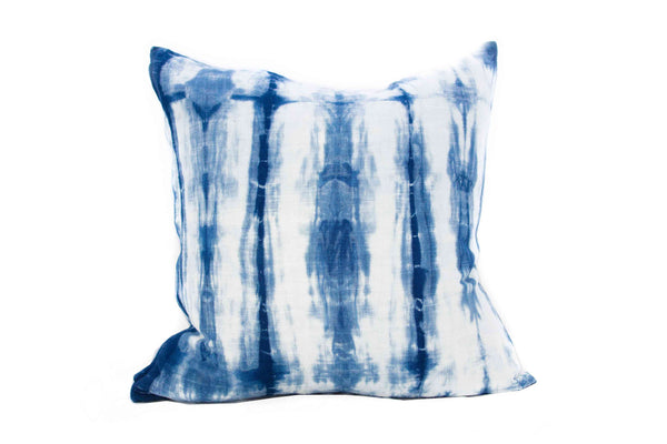 Indigo Striped Shibori Pillow