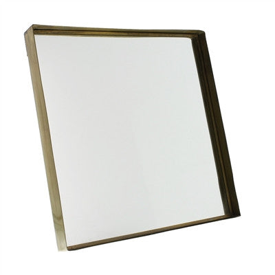 Square Brass Framed Mirror