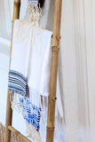 White + Black Striped Fouta Guest Towel