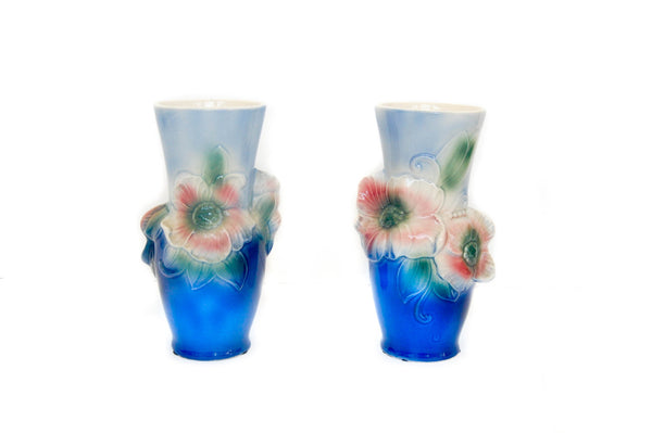 Pair of Blue + Pink Floral Vases