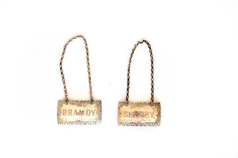Silver Brandy and Sherry Decanter Tags