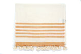 Orange Stripe Pom Pom Table Runner