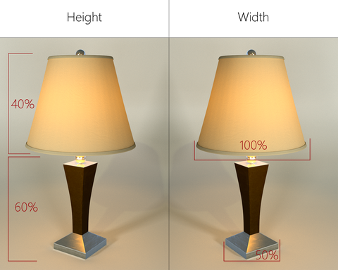 How to choose the right lampshade just shades choose a lampshade that is roughly 40 of the overall height of the lamp and roughly double the size of the lamp base mozeypictures Choice Image