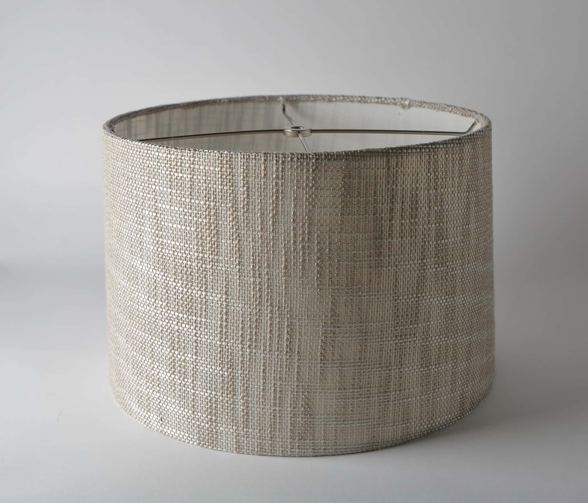 Two Tone Textured Weave Short Drum Light Gray (Rolled Edge)