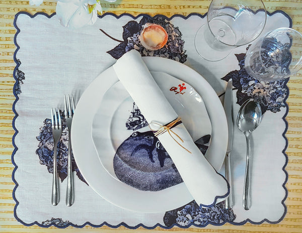 Blue Hydrangea Placemats with Scallop Edge