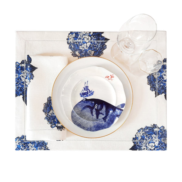 Blue Hydrangea Placemats with Hemstitch Border