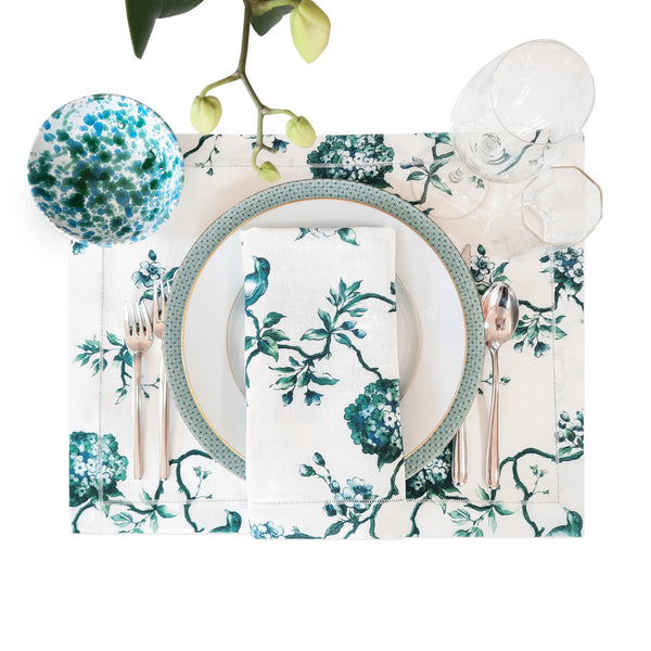 Italian Birds Chinoiserie Linen Placemats with Hemstitch Border