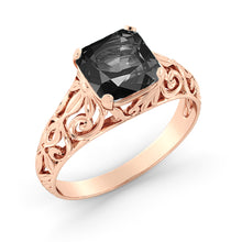 "Load image into Gallery viewer, 2 Carat 14K White Gold Black Diamond ""Adele"" Engagement Ring 