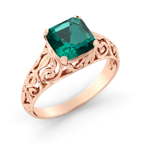 2 Carat 14K Rose Gold Emerald
