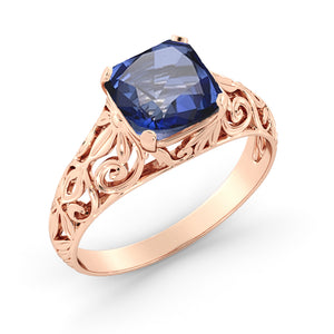 "2 Carat 14K Rose Gold Blue Sapphire ""Adele"" Engagement Ring"