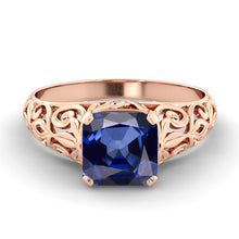 "Load image into Gallery viewer, 2 Carat 14K Rose Gold Blue Sapphire ""Adele"" Engagement Ring"