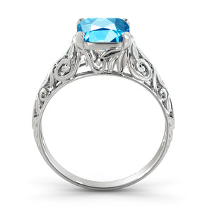 "2 Carat 14K White Gold Blue Topaz  ""Adele"" Engagement Ring 