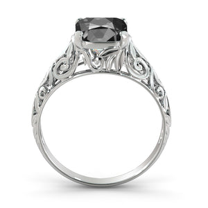 "2 Carat 14K White Gold Black Diamond ""Adele"" Engagement Ring"
