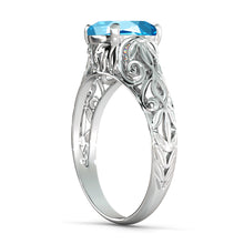 "Load image into Gallery viewer, 2 Carat 14K White Gold Blue Topaz  ""Adele"" Engagement Ring 
