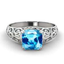 "Load image into Gallery viewer, 2 Carat 14K White Gold Aquamarine ""Adele"" Engagement Ring"