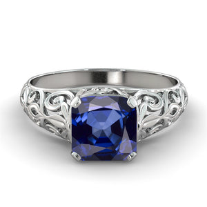 "2 Carat 14K Yellow Gold Blue Sapphire ""Adele"" Engagement Ring"