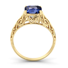 "Load image into Gallery viewer, 2 Carat 14K Yellow Gold Blue Sapphire ""Adele"" Engagement Ring"