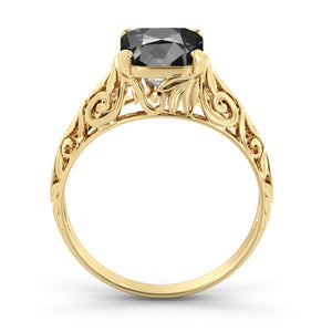"2 Carat 14K White Gold Black Diamond ""Adele"" Engagement Ring 