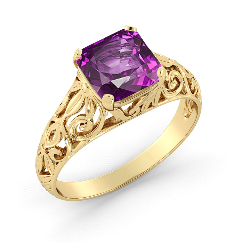 2 Carat 14K Yellow Gold Amethyst