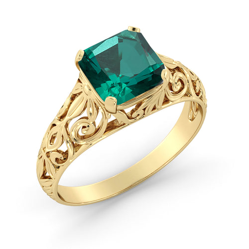 "2 Carat 14K Yellow Gold Emerald ""Adele"" Engagement Ring - Diamonds Mine"