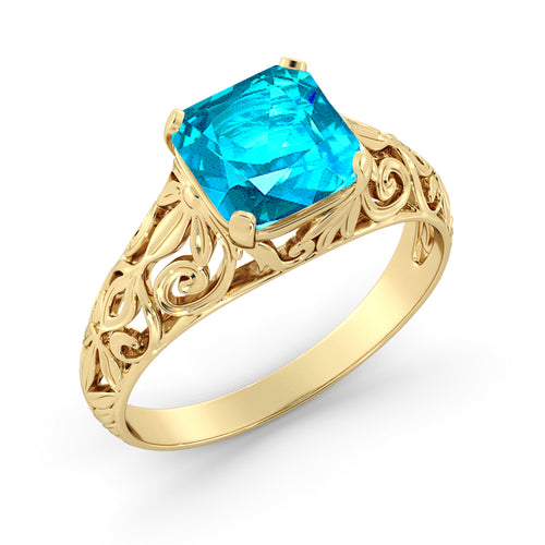 "2 Carat 14K Yellow Gold Aquamarine ""Adele"" Engagement Ring - Diamonds Mine"
