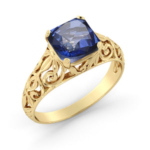 "2 Carat 14K Yellow Gold Blue Sapphire ""Adele"" Engagement Ring - Diamonds Mine"