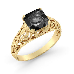 "2 Carat 14K Rose Gold Black Diamond ""Adele"" Engagement Ring"