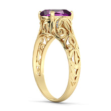"Load image into Gallery viewer, 2 Carat 14K Yellow Gold Amethyst ""Adele"" Engagement Ring"