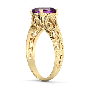 "2 Carat 14K Yellow Gold Amethyst ""Adele"" Engagement Ring"