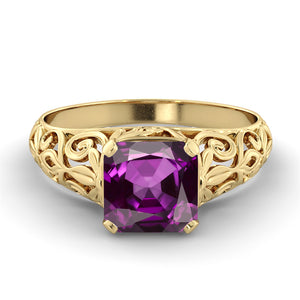 "2 Carat 14K Rose Gold Amethyst ""Adele"" Engagement Ring"