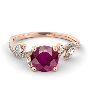 "2 Carat 14K Rose Gold Ruby ""Lucia"" Engagement Ring - Diamonds Mine"
