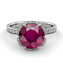 "Load image into Gallery viewer, 2.5 Carat 14K White Gold Ruby ""Allison"" Engagement Ring - Diamonds Mine"
