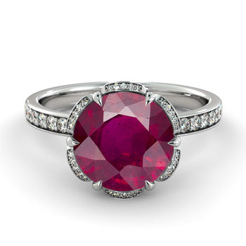 "2.5 Carat 14K White Gold Ruby ""Allison"" Engagement Ring - Diamonds Mine"