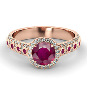 Art Deco Ruby & Diamonds Engagement Ring - Diamonds Mine