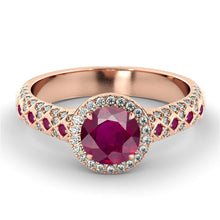 Load image into Gallery viewer, Art Deco Ruby & Diamonds Engagement Ring - Diamonds Mine