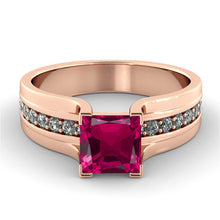 Load image into Gallery viewer, Princess Cut Ruby Engagement Ring Antique Style - Diamonds Mine
