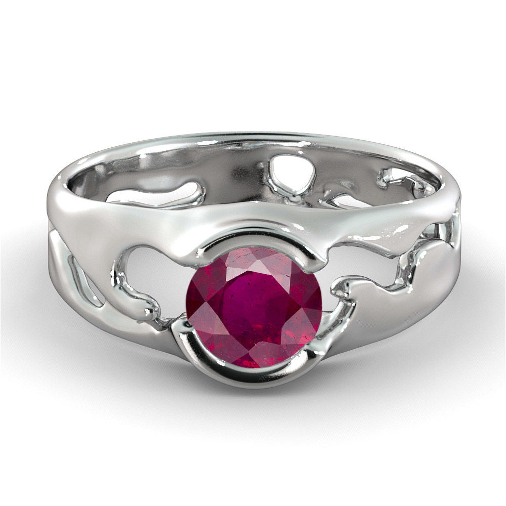 2 Carat Ruby Round Cut Engagement Ring - Diamonds Mine