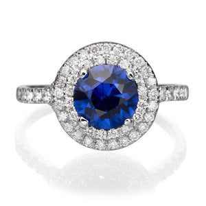 "1.1 Carat 14K Yellow Gold Blue Sapphire & Diamonds ""Marcia"" Engagement Ring"