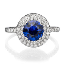 "Load image into Gallery viewer, 1.1 TCW 14K White Gold Blue Sapphire ""Marcia"" Engagement Ring - Diamonds Mine"