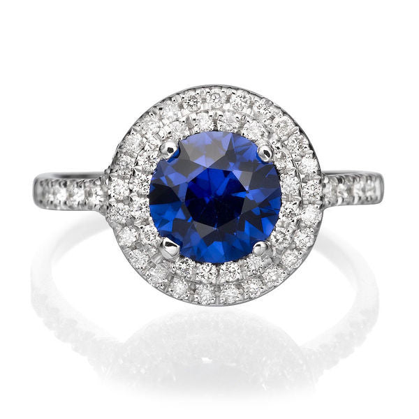 "1.1 TCW 14K White Gold Blue Sapphire ""Marcia"" Engagement Ring - Diamonds Mine"