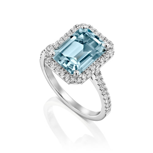 3 Carat 14K White Gold Aquamarine & Diamonds