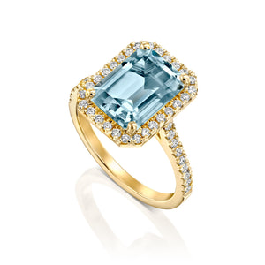 "3 Carat 14K White Gold Aquamarine & Diamonds ""Charlotte"" Engagement Ring"