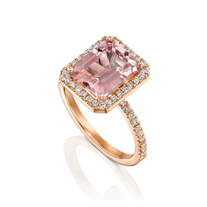 4 Carat 14K Rose Gold Morganite & Diamonds