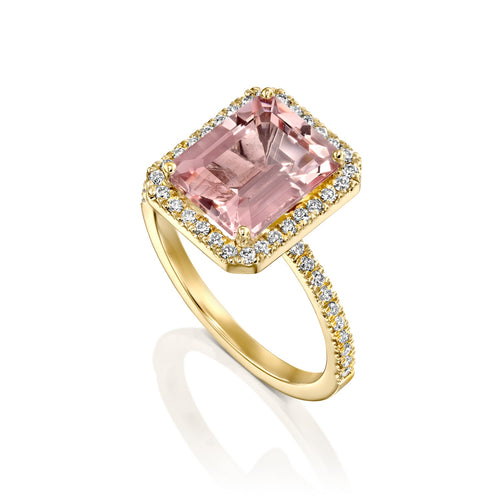 5 Carat 14K Yellow Gold Morganite & Diamonds