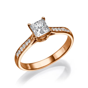 "1 Carat 14K Yellow Gold Diamond ""Helen"" Engagement Ring"
