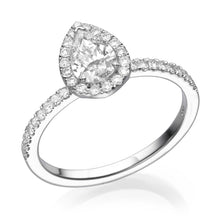 Load image into Gallery viewer, Pear Cut Diamond Halo Engagement Ring - Diamonds Mine