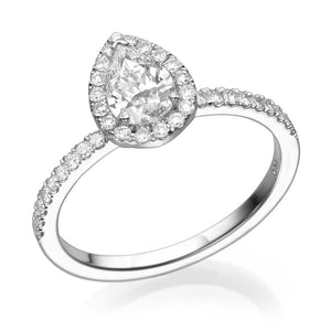 Pear Cut Diamond Halo Engagement Ring - Diamonds Mine