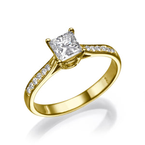 "1.1 Carat 14K Yellow Gold Moissanite & Diamonds ""Helen"" Engagement Ring"