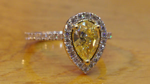 "1 TCW 14K White Gold Natural Fancy Yellow Diamond ""Philippa"" Engagement Ring"