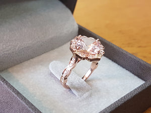"3.5 Carat 14K Rose Gold Morganite & Diamonds ""Cathleen"" Engagement Ring"